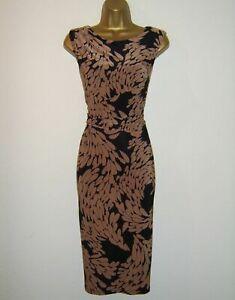 Phase Eight Black Floral Leaf Print Stretch Shift Wiggle Dress UK 12 EU 40 US 8