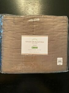 POTTERY BARN TENCEL SILK CHANNEL PILLOW SHAM STANDARD Brownstone NEW