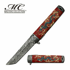 "Spring-Assist Folding Knife | Red Asian Chinese Dragon 3.6"" Tanto Blade Edc"