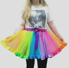 CLOWN TUTU FANCY DRESS RAINBOW PRIDE COSTUME PARTY WOMENS LADIES SKIRT UNICORN
