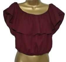 Sexy Bardot Of Shoulder Blouse Crop Top 16 Aubergine Purple Ruffle Frill BNWT