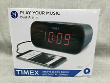 New Timex Am And Fm Dual-Alarm Clock Radio Gunmetal Gray Snooze Big Display