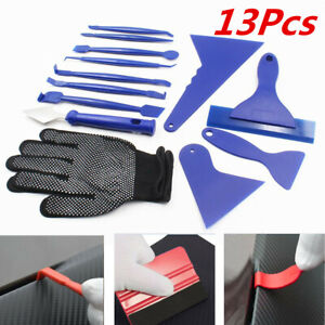 13Pcs Car Window Film Tinting Tools Kit Scraper Squeegee Glove Auto Accessories