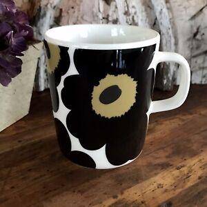 MARIMEKKO Oiva Unikko 50th ANNIVERSARY Black Flower Coffee Cup Mug Japan RARE