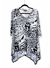 Womens Tunic Top Animal Print in Gray Black WearOrGoBare Plus Size 5X