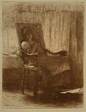 "Robert Macbeth original sanguine etching ""Weary of Watching"" 1879"