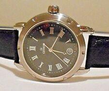 Mint GEVRIL Men's S0111 Black Dial Swiss Quartz Leather Watch with Box. #1731
