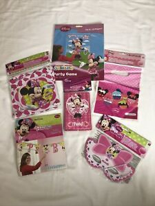 MINNIE MOUSE PINK PARTY JOB LOT NEW GAME ANY AGE BANNER LOOT INVITES MASKS Set 2