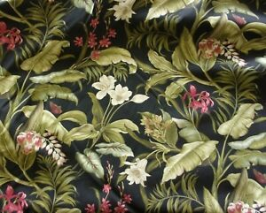 "Waverly Fabric-Wailea Coast Sun N Shade-Black Tropical Floral-Near 2 yds-55x66""+"