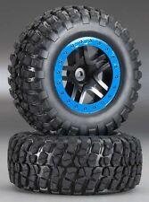 NEW! Traxxas Slash 2wd/Slash 4x4 SCT Blue Beadlock/Mud Terrain Tires 5883A