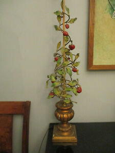 """Vintage Italian Tole Ware Strawberries Leaves Gold Gilt Urn 46"""" Table Lamp!"""