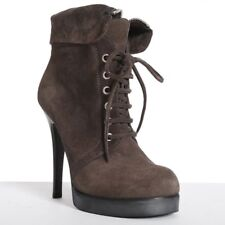 new GIUSEPPE ZANOTTI brown suede lace up fold over heel boots EU38.5 US8.5 UK5.5