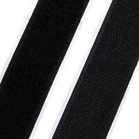 """1"""" wide Black Self Adhesive Sticky Back Hook + Loop Fastener Tape - 5 yards"""