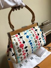 VINTAGE MARNI CANVAS FRAMED HANDBAG PURSE SMALL ITALY