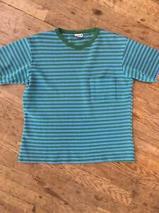 Vintage 1960s 70s Blue Green Striped T Shirt Sweatshirt Mens L Surf Beatnik Punk