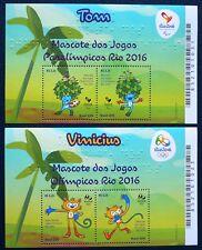 Brasilien Brasil 2015 Bl. 177-178 ** MNH Olympiade Olympic RIO 2016 Maskottchen