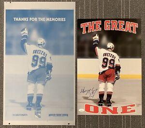 Wayne Gretzky Signed Poster & Printing Plate Rangers SGA Hockey HOF JSA Card NHL