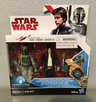 "Star Wars THE LAST JEDI  HAN SOLO BOBA FETT 2-pack 3.75"" Figure Force Link, NIB!"