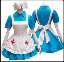 Cosplay Clothes Sweet Lolita Blue Cute Nurse Housemaid Dress Halloween Show
