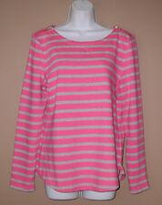Womens Talbots Size Medium Long Sleeve Fall Fashion Pink Stripe Casual Top Shirt