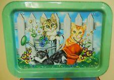 Vintage Signed Ross Avidon Tin TV Tray Folding Legs Cat Kittens Garden Flowers