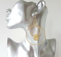 "Pretty 3"" long gold tone patterned multi hoop drop earrings & mesh bead detail"