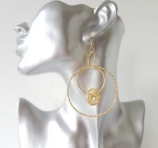 "Pretty 3"" long gold tone patterned multi hoop drop earrings & mesh bead detail"