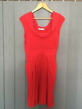 Portmans Red Work Dress with Cowl Neckline & Side Pockets Size 8