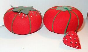 2 OLD VINTAGE STRAWBERRY TOMATO PIN CUSHIONS PINCUSHIONS WITH SEWING PINS