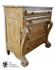Antique American Empire Tallboy Chest 5 Drawer Dresser Scrolled Leg Chic Painted
