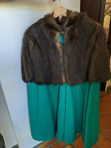 Womens Green Wool Cape with Long Fur Caplet Collar