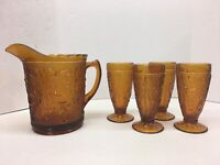 Tiara Indiana Daisy Sandwich Pattern Textured Glass Amber Pitcher & 4 Glasses