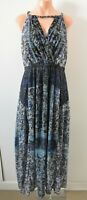 City Chic Dress Size Plus XS Blue Purple Green Floral Maxi Sleeveless