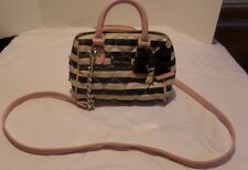 Betsey Johnson Mini Barrel Heart Quilted Black White Pink Crossover Bag