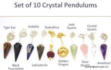 10 Crystal Pendulums Set Gemstone Pendulum Crystal Healing Reiki Healing wicca