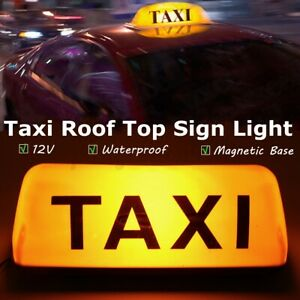 Amber 12V Taxi Cab Sign Roof Topper Car Magnetic Sign Lamp Lights Waterproof US