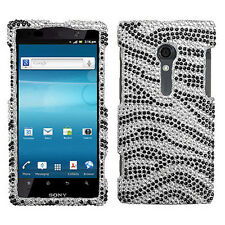 For Sony Xperia Ion Crystal Diamond BLING Hard Protector Case Phone Cover Zebra