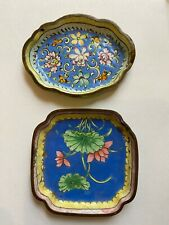 New ListingAntique Chinese Cloisonne / Enamel Floral Design Trinket Dish or Pin Trays x2