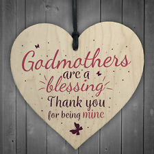 Godmothers Blessing Heart Plaques Mothers Day Christening Birthday Asking Gifts