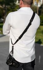 Leather Camera Single Strap Neck Shoulder Harness Adjustable Size SLR/DSLR Black