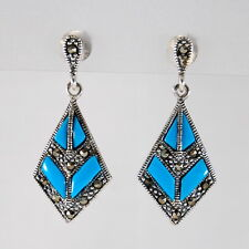 Earrings Sterling Silver 925 Vintage Style Marcasite Turquoise Drop Dangle