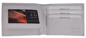 Bifold Wallet Men's Genuine Leather White Credit/ID Card Holder Slim Purse