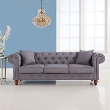 Grey Classic Linen Fabric Tufted Button Chesterfield Style Living Room Sofa
