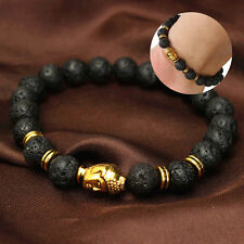 Men Women Golden Skull/Black Lava Rock Beaded Shamballa Stretch Energy Bracelet
