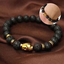 Men Women Golden Skull/Black Lava Rock Beaded Shamballa Stretch Energy Bracelet