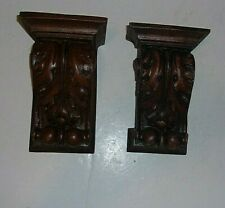 """2 Faux Carved Wood/Resin Wall Shelfs Perfect Wall Display Each 4"""" W X 6"""" L  #1"""