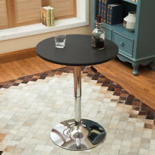 Modern Adjule Round Bar Table 360 Swivel Mdf Top Pub Bristo Tables Black