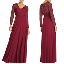 NEW 3034S DESSY Collection BURGUNDY Long Sleeve LACE & CHIFFON Bridesmaid GOWN 0