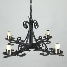 Vintage French Wrought Iron Chandelier, Four Lights