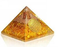 Extra Large 70-75MM Citrine Orgonite Pyramid EMF Protection Orgone Energy